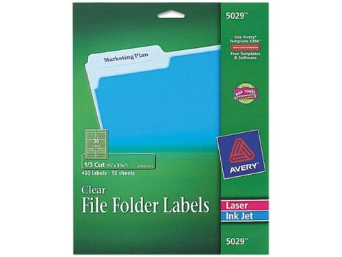 Avery clear filing labels laser inkjet 5029 2 3 x 3 for Avery template 5027