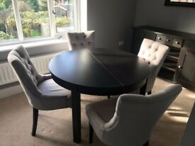 Set of 4 Made Grey Upholstered Dining Chairs