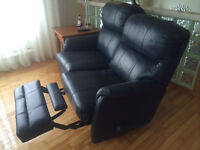 SUPERBE CAUSEUSE + FAUTEUIL INCLINABLE TOUT CUIR