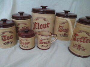 Vintage stoneware canister set & coffee pot set