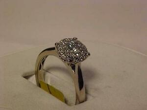 #891-14K WHITE Gold DIAMOND(28) CLUSTER DRESS RING-SIZE 8 1/8-APPRAISED-$1800.00-.375 ct TOTAL DIAMONDS -SEE APPRAISAL