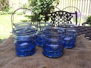 Blue glass lanterns