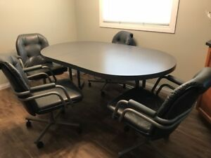 Used Kitchen Table with 2 leaves and 4 Leather Chairs