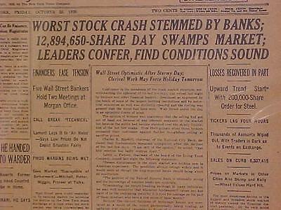 VINTAGE NEWSPAPER HEADLINE ~NEW YORK 1929 WALL STREET STOCK MARKET CRASH~