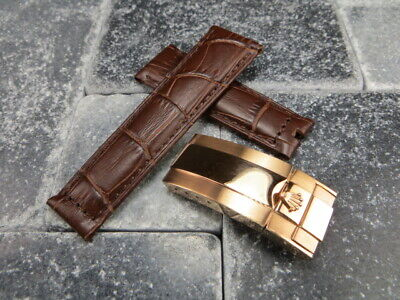 20mm Leather Strap Set Brown Watch Band Rolex Daytona SUBMARINER Rose Gold Plate (Rolex Leather Strap Watch)