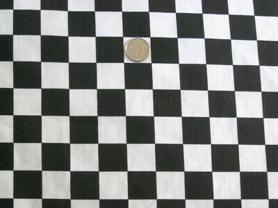 BLACK WHITE CHECKER BOARD RACING FLAG CHEF SEW CRAFT DECOR FABRIC HALF YARD