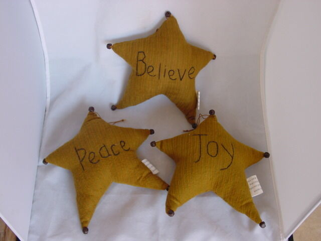 Cloth GOLD STAR Ornaments ~ Joy Believe Peace ~ NEW Christmas bowl fillers stars