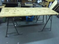 Wooden trestle table with metal legs (non-folding)