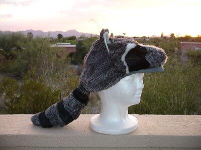 RACCOON mask HAT halloween COSTUME plush ADULT daniel boone cap badger racoon - Badger Halloween Costume