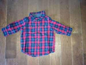 Baby Boy Gap Plaid Lined Shirt Red/Blue (size 6-12 months)