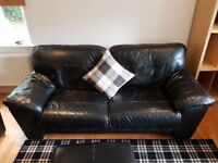 Stylish Black Leather 4 piece Suite - Large Foot Stool, 3, 2 & 1 Seater Sofa