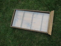 solid wood spoon rack enclosed with glass door: (1) 12Wx24Hx2.5