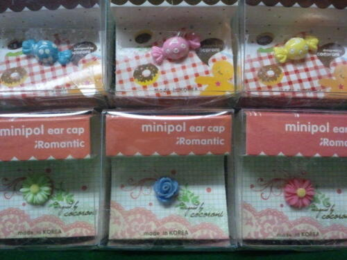 Dust Plug Ear Cap Phone Charm 6 Pc Assorted Flowers & Candy 3.5mm + FREE GIFT?c