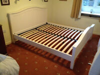 """191cm x 216cm """"New England"""" pearl white satin Bensons Venetian super king size double bed bed"""