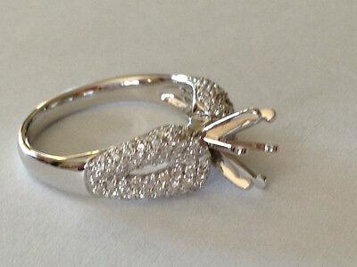 Diamond Engagement ring semi-mount .70 ct. round pave set 18k white - Semi Mounted Set Ring