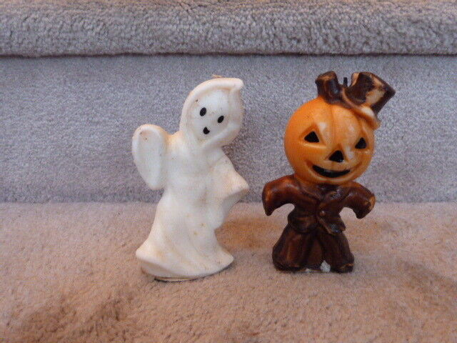 "VINTAGE Mid Century Pair of Halloween Candles Jack-O-Lantern JOL & Ghost 5"""