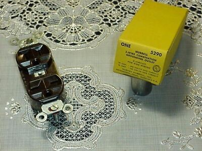 Hubbell 5290 3 Wire Combination Grounding Outlet Brown 2 Circuit 15a 125v250v