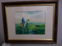 Framed Painting Rider & Horse - Beautifully framed, ready to hang