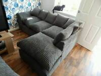 Grey cord corner sofa delivery available