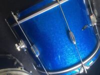 c&c date 1 , drum kit, modern vintage style drums in blue sparkle, style of gretsch Ludwig