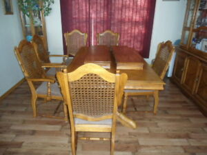 Dining Room table 6 cain backed chairs and  china cabinet