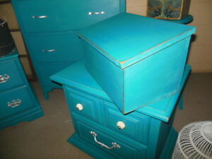 antique dresser, nightstands, stools, etc. painted,  teal London Ontario image 5
