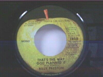 "BILLY PRESTON ""THAT'S THE WAY GOD PLANNED IT"" 45 APPLE MINT UNPLAYED"