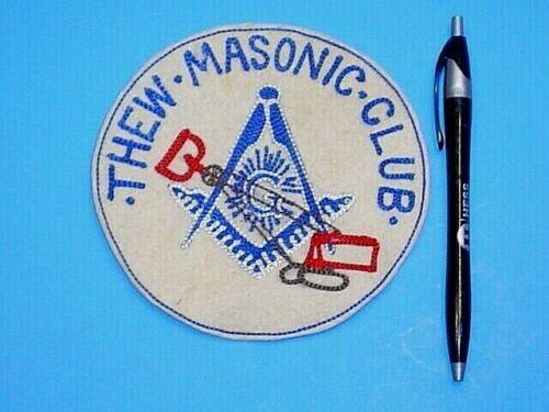 LARGE VINTAGE THEW MASONIC CLUB JACKET PATCH