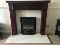 Excellent mahogany colour wood fire surround with real marble hearth and rear