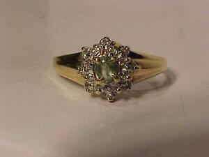 #922-10K YELLOW/WHITE GOLD PERIDOT / DIAMOND(16) RING Size 6--FREE SHIPPING-WILL ACCEPT EMAIL BANK TRANSFER only