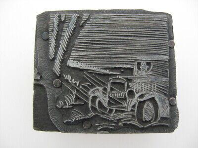 Vintage Letterpress Printers Blockvintage Automobile Lead And Wood