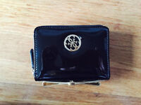 Black GUESS small bow zip-around wallet