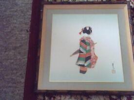 silk wall art from japan circa mid 1970s