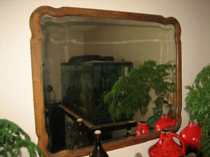 Vintage Oak Bevelled Bent Wood Mirror