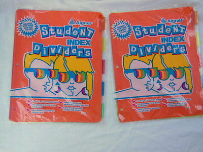 2 Packs Aigner Student Index Divider Tabs Each Pack 5 Sheets In Zany Colors New