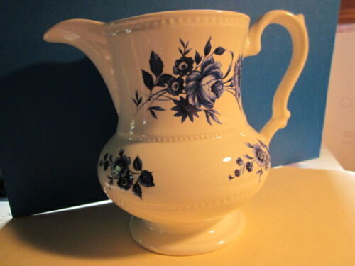 Vtg Lord Nelson Pottery 16 Oz MILK PITCHER White with Blue Roses Made in England