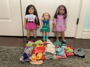 3 American girl dolls and clothing