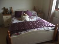 Full set of nearly new bedroom furniture including mattress, bed linen and curtains