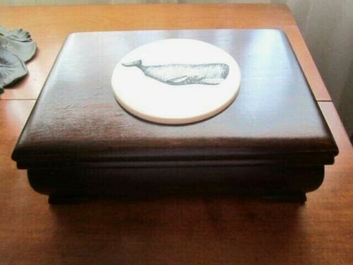 Mahogany  Document Box with  Scrimshaw Picture Maritime