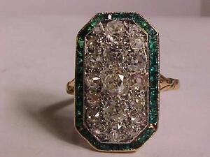 #796-ANTIQUE 18K Y/Gold & PLATINUM -EMERALD & DIAMOND  RING-1.78ct DIAMONDS/40 IRREGULAR EMERALDS-JUST $1,950.00