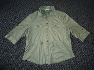 Ladies Size 16 TanJay Half Sleeve Button Up Dressy Shirt