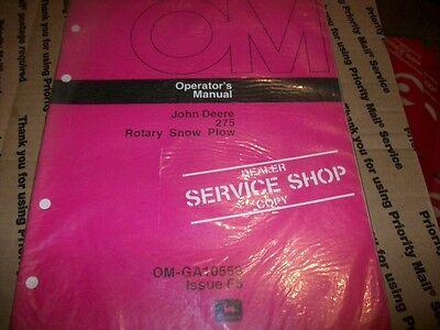 Original John Deere 275 Rotary Snow Plow Manualtractoroperators Manual Red