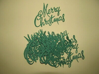 20 Merry Christmas Word Diecuts in Green forScrapbooking,Cardmaking,Decorations ()