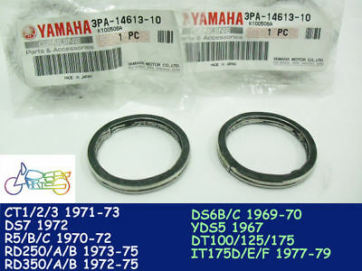 Yamaha DT175 IT175 DS7 R5 RD250 RD350 RD500 Exhaust Gasket x2 NOS 3PA-14613-00