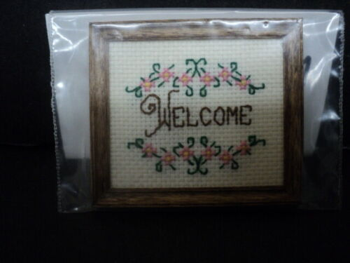DOLLLHOUSE CROSS STITCH PICTURE- WELCOME
