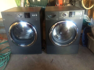 Bosch front loads stackable grey washer dryer for sale