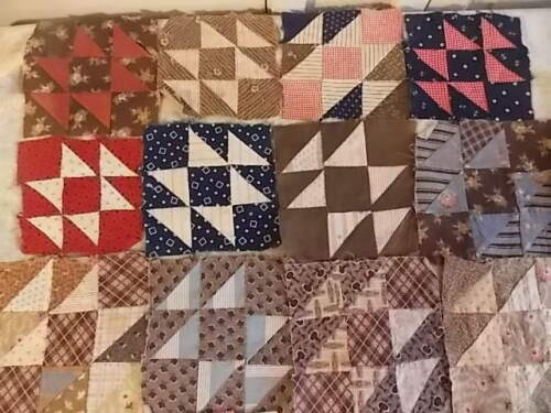 "Antique Hand-Pieced ""Birds in Flight"" Quilt Squares 6"" All Cotton 1920s Fabrics"