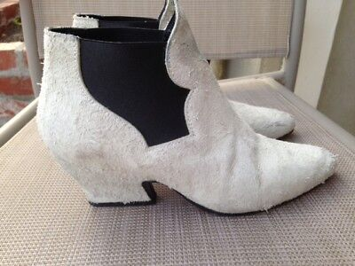 ACNE Alma Textured Suede Leather Ankle Boots Light Gray Off White Italy Sz 36