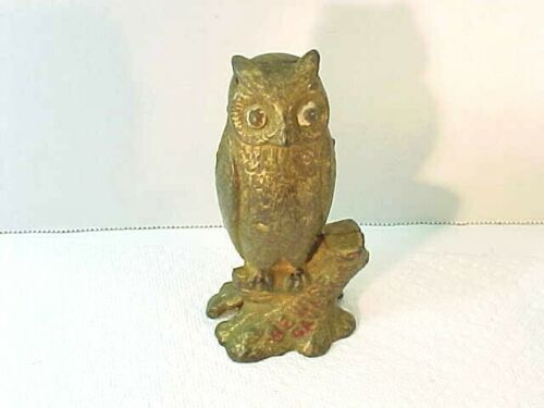 """Wonderful Antique A. C. WILLIAMS Owl on a Stump Still Bank, """"Be Wise Save Money"""""""