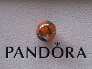GENUINE PANDORA SILVER/ORANGE BUTTERFLY CHARM